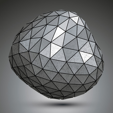 deformed: Deformed metallic object created from triangles, spatial geometrical element.