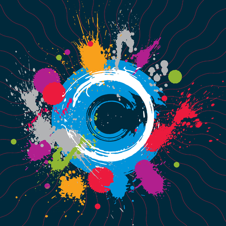 imprecise: Colorful vector ink splash seamless pattern with overlap circles, bright graphic art repeat backdrop with overlap acrylic spots, scanned and traced. Illustration