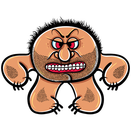 foolish: Angry cartoon monster with stubble, vector illustration. Illustration