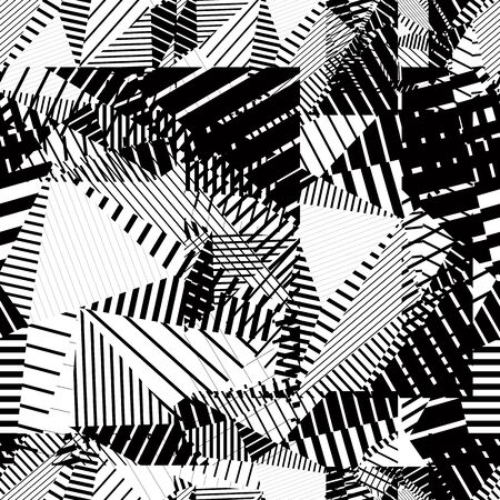 tattered: Black and white geometric stripy seamless pattern, contrast tattered endless vector background. Abstract covering with parallel lines.