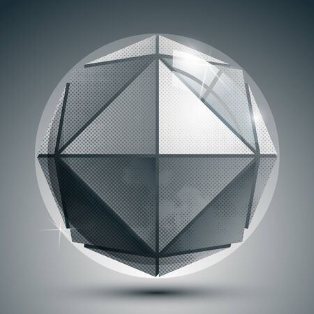 flashes: Dimensional sphere with flashes, sparkle dotted futuristic round structure. Illustration