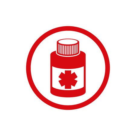 ikon: Medical bottle vector icon isolated.