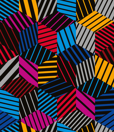 Lined 3d cubes seamless pattern, geometric vector background. Illustration