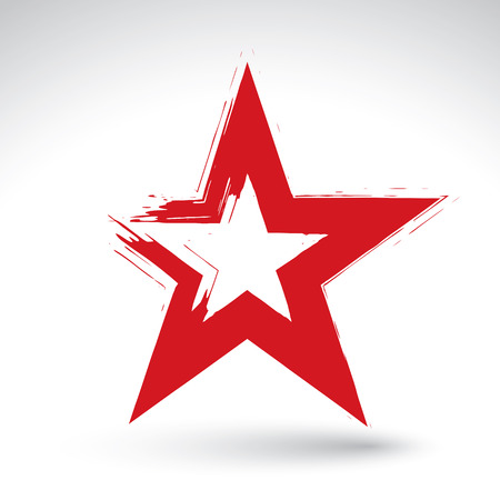 dictatorship: Hand drawn soviet red star icon scanned and vectorized, brush drawing communistic star, hand-painted USSR symbol isolated on white background.