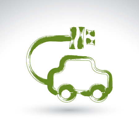 electric automobile: Hand drawn green eco car icon, illustrated brush drawing electric powered car, hand-painted ecology automobile isolated on white background.
