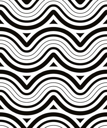 black line: Waves seamless pattern, black and white vector background.
