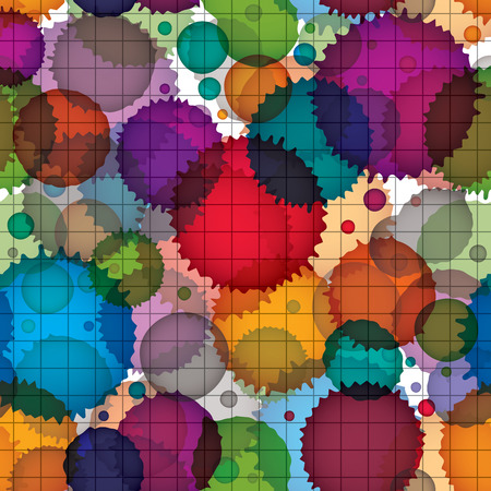 untidily: Colorful splattered web design repeat pattern, overlay art ink blob, paintbrush drawing.