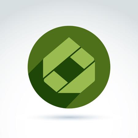 parallelogram: Elemento corporativo compuesto brillante creado a partir de piezas geom�tricas separadas. Vector abstracto emblema colocado en c�rculo verde.