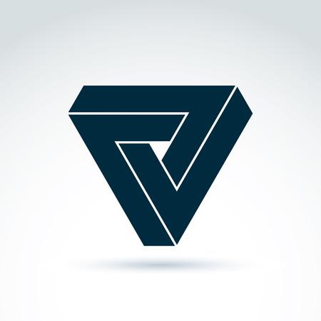 tri�ngulo: Vector resumen tri�ngulo compuesto de tres marcas de verificaci�n. S�mbolo geom�trico aislado en fondo blanco, pir�mide. Vectores