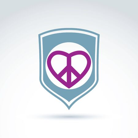 peacemaker: Round antiwar and love vector icons placed on a shield, peace protection vector icon. Peacemaker badge - loving heart with peace symbol from 60s.