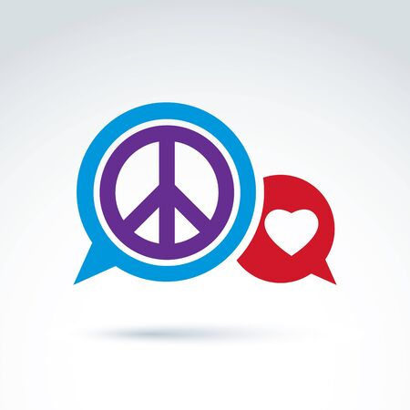 antiwar: Round antiwar and love vector icons, speech bubbles with peace and loving heart symbols. Conversation on compassion and global peace theme, 60s.