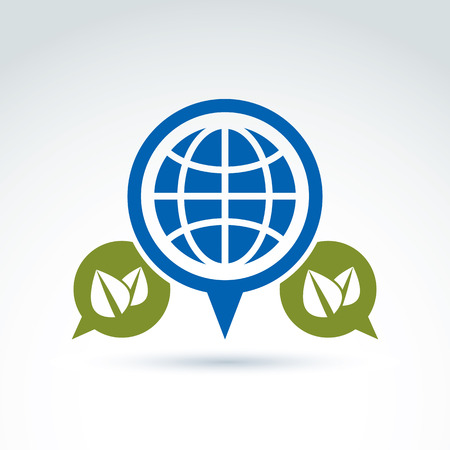 planetary: Conversation on ecology theme, speech bubbles with green leaves and earth, conceptual eco sign.  Ecology vector icon on planetary resources idea. Illustration