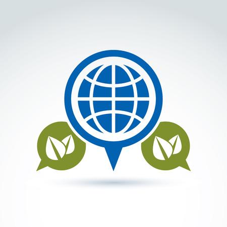 planetarnych: Rozmowa na temat ekologii, dymki z zielonymi liśćmi i ziemią, koncepcyjne znak ekologicznego. Ekologia ikona wektor na planetarnym pomysł zasobów.