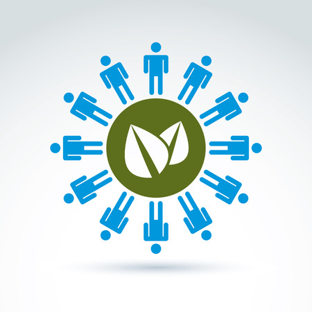 mankind: Green leaves global life and mankind symbolic icon, vector conceptual unusual symbol for your design.