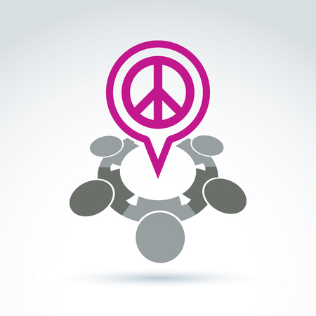 harmony idea: People chat on harmony idea.  Conceptual  antiwar sign from 60th, hippy icon.  Speech bubble with a global peace symbol.
