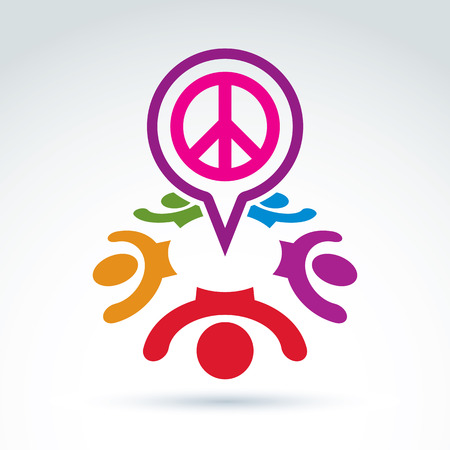60th: People chat on harmony idea.  Conceptual  antiwar sign from 60th, hippy icon.  Speech bubble with a global peace symbol.