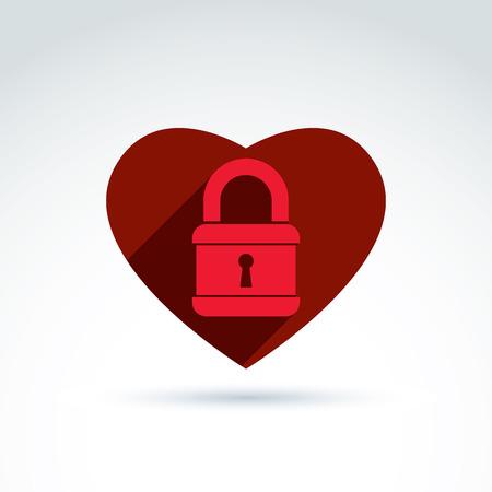 secret love: Vector coraz�n rojo con un candado aislados sobre fondo blanco. S�mbolo del amor secreto, icono intimidad conceptual.