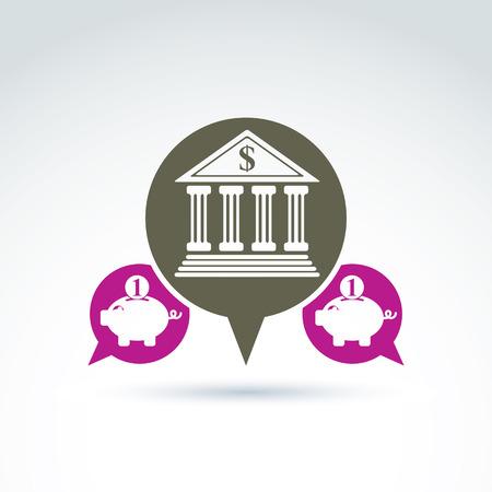 personal banking: Vector banking simbolo, icona istituto finanziario. Discorso bolle banca edificio rosa e illustrazioni salvadanaio. Concetto depositi personali.