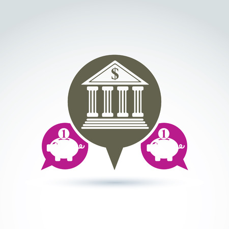 piggybank: Vector banking symbol, financial institution icon. Speech bubbles with bank building and pink piggybank illustrations. Personal deposits concept. Illustration