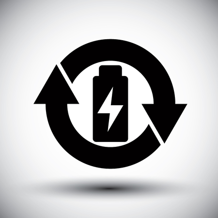 simplistic icon: Battery vector simplistic symbol charge indicator icon.