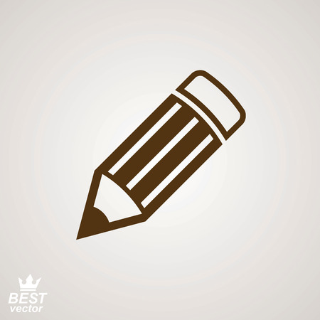 markup: Geometry idea vector icon – detailed brown edit pencil. Graphic realistic engineering tool, technical symbol. Web design industrial element. Illustration