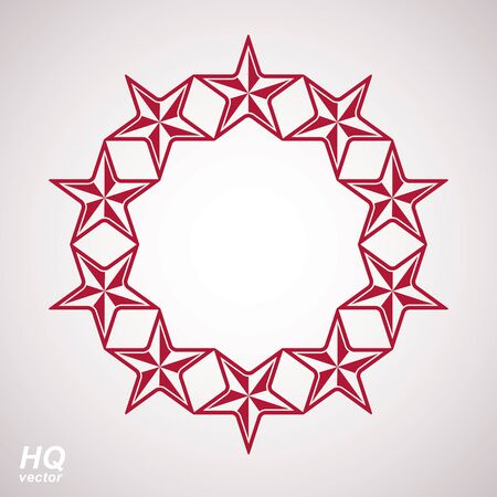 globalism: Vector union conceptual symbol. Festive design element with stars, decorative luxury template. Corporate branding icon, . Illustration