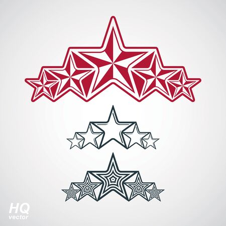 globalism: Vector union symbol. Festive design element with stars, decorative luxury template. Corporate branding icons. Social concept theme emblems set.