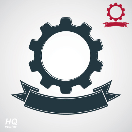 Vector conceptual industry system design element, cog wheel, gear with a decorative curvy ribbon. High quality business icon – 2 versions. Best engineering project award conceptual symbol.