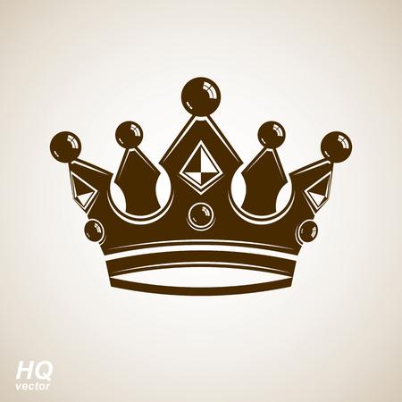 coronet: Vector vintage crown, luxury ornate coronet illustration. Royal luxury design element, decorative regal icon. Classic imperial regalia symbol.