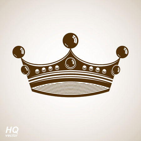 coronet: Vector vintage crown, luxury ornate coronet illustration. Royal luxury design element, decorative regal icon. Classic imperial eps8 regalia symbol.