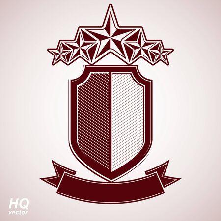 Vector aristocratic symbol. Festive graphic shield with five stars and curvy ribbon - decorative luxury security template. Corporate branding icon, success concept theme design element.