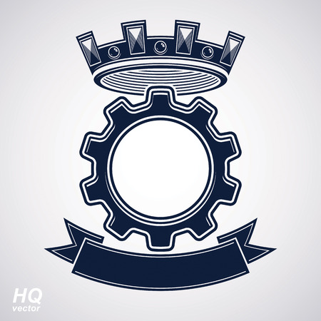 coronet: Vector industrial design element, cog wheel with a coronet and black decorative curvy ribbon. High quality manufacturing gear icon. Best engineering project award conceptual symbol. Royal heraldic coat of arms. Illustration