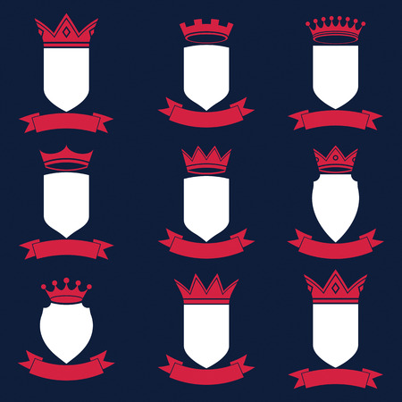 undulate: Collection of empire design elements. Heraldic royal coronet illustration. Set of luxury vector shields with king crown and undulate festive ribbon.