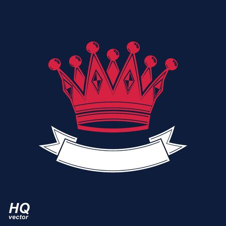 corona de reina: Vector corona imperial con la cinta ondulada. Corona cl�sico con banda de curvas decorativo. Rey elemento de dise�o de la regal�a.