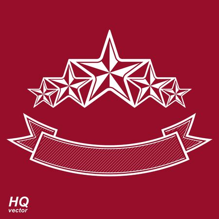 pentagonal: Vector monarch symbol. Festive graphic emblem with five pentagonal stars and curvy ribbon - decorative luxury template. Corporate branding icon, success concept theme design element.