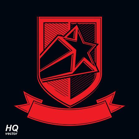 communistic: Vector escudo militar con la estrella cometa pentagonal, protecci�n her�ldico blas�n sheriff. Urss s�mbolo conceptual comunista. Fuerzas capa gr�fica de armas. Tema de la Uni�n Sovi�tica.