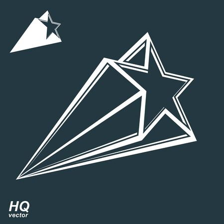 celestial: Vector celestial object, pentagonal comet star illustration, includes additional version. Graphical stylized comet tail. Military stylized design element.