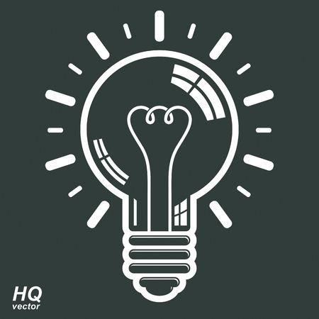 brain storm: Electricity light bulb symbol. Vector brain storm conceptual icon - corporate problem solution theme. Business idea design element. Graphic web insight emblem.