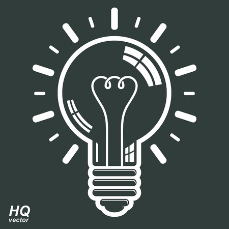 insight: Electricity light bulb symbol. Vector brain storm conceptual icon - corporate problem solution theme. Business idea design element. Graphic web insight emblem.
