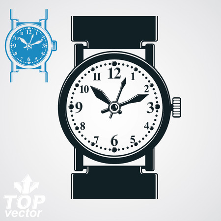 timepiece: Vector stylized wristwatch illustration, elegant detailed quartz watch with dial and an hour hand. Retro strap watch, symbolic timepiece. Web business design element – time idea.