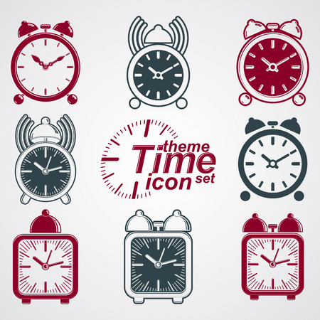 wake up call: Vector squared 3d alarm clocks with clock bell, decorative wake up conceptual icons collection. Graphic design elements – get up theme. Waiter ringing symbols. Illustration