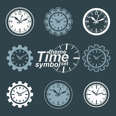 components: Set of vector engineering components – cog wheels. Time management theme, 3d stylized invert clocks in the shape of gear. Illustration