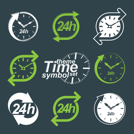 Set of graphic web vector 24 hours timers, around-the-clock flat invert pictograms. Day-and-night interface icon. Collection of business time management illustrations. Vector