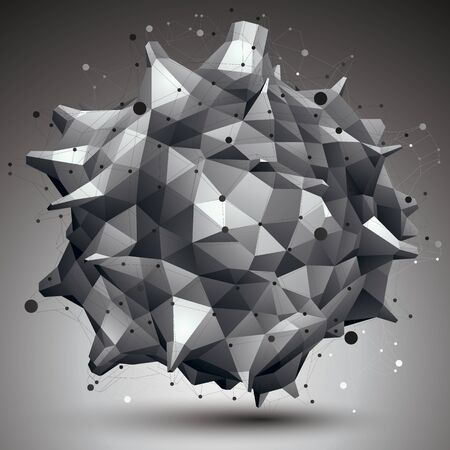 asymmetric: Abstract asymmetric vector monochrome object with black lines mesh, complicated geometric shape. Illustration