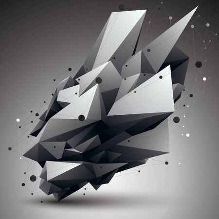 apex: 3D mesh contemporary style abstract object, origami futuristic form with lines mesh.
