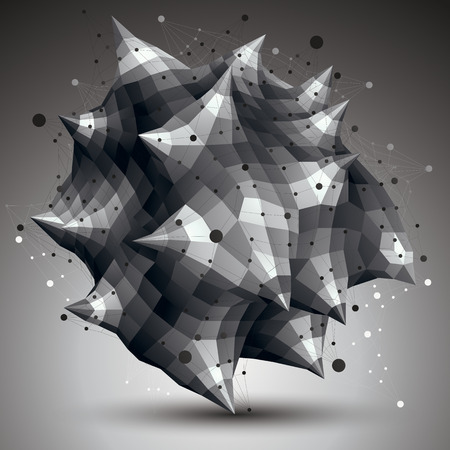 spatial: Spatial vector monochrome digital object, 3d technology figure with geometric elements and wireframe. Illustration