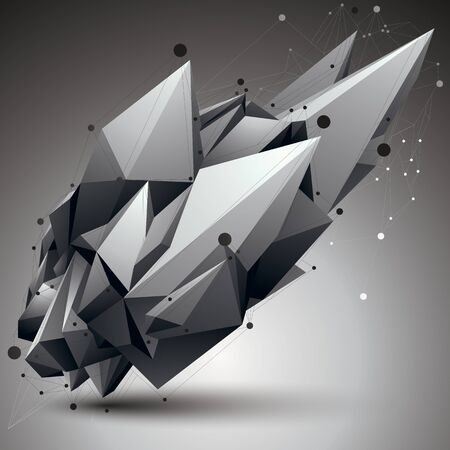 gray thread: Vector digital 3d abstraction, lattice geometric polygonal element, perspective wireframe object. Illustration