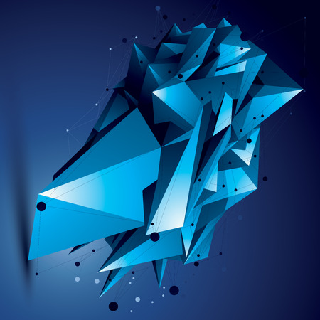 spatial: Spatial technological bright shape, polygonal colorful wireframe object.