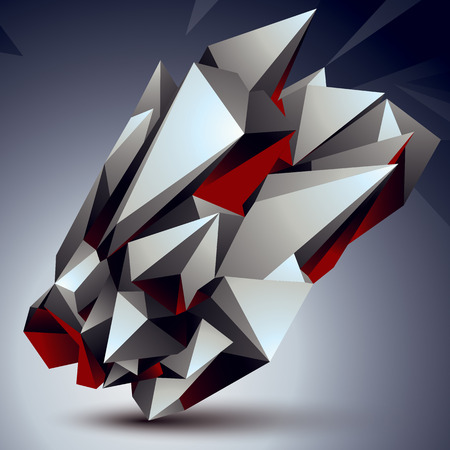 apex: Vector digital 3d abstraction, geometric polygonal element. Spatial technological contrast shape perspective object.