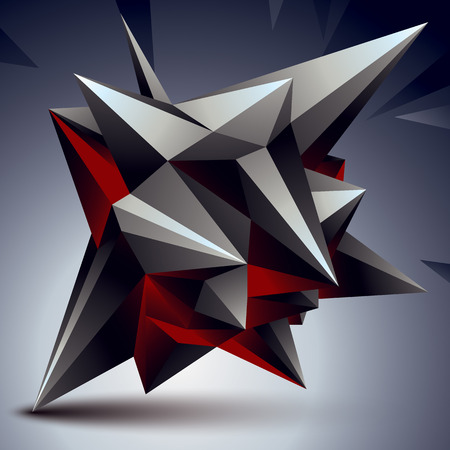 complicated: Geometric abstract 3D complicated object, single color asymmetric element isolated. Illustration